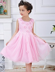 Girl's Print Dress,Rayon Summer Blue / Pink / Yellow