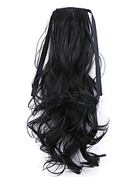 Black Length 50CM Factory Direct Sale Bind Type Curl Horsetail Hair Ponytail(Color 2)