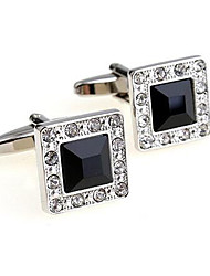 Men's Fashion Black Crystal Alloy French Shirt Cufflinks (1-Pair)