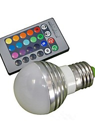 3W E26/E27 Ampoules Globe LED A50 1 LED Haute Puissance 100-180 lm RVB Commandée à Distance AC 85-265 V 1 pièce