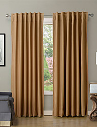Solid Thermal Insulated Blackout Curtain Drape - Back Tab / Rod Pocket - Burgundy, Wheat, Navy  (Set of 2 Panels)