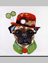 Lager Hand Painted Modern Gentleman Dog Animal Oil Painting On Canvas Wall Art For Home Decor Whit Frame Ready To Hang