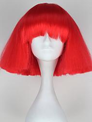 mode capless style gaga dame courtes crépus droites rouges les femmes de couleur perruque partie synthétique