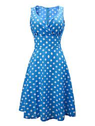 Robe Aux femmes Swing Vintage,Points Polka Col Arrondi Mi-long Coton / Polyester
