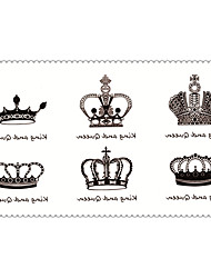 Fashion Temporary Tattoos King and Queen Sexy Body Art Waterproof Tattoo Stickers 5PCS (Size: 2.36'' by 4.13'')