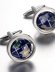 Men's Fashion Earth Style Silver Alloy French Shirt Cufflinks (1-Pair) Christmas Gifts