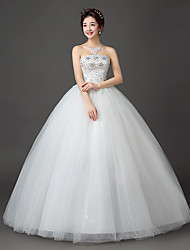 Ball Gown Wedding Dress Floor-length Strapless Lace / Satin / Tulle with Crystal