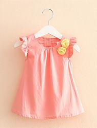 Mädchen T-Shirt-Lässig/Alltäglich einfarbig Baumwolle Sommer Rosa / Lila / Gelb