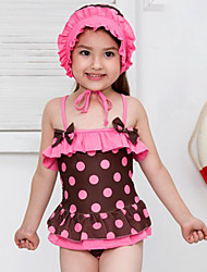 Girl's Summer Polka Dot Swimming Swimming Cap One-piece Bathing Suit