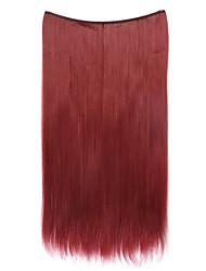 cor peruca vermelha 55 centímetros sintética fio de alta temperatura reta pedaço de cabelo 118