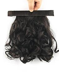 Länge schwarze Perücke 28cm synthetische lockige Hochtemperaturdrahtspule flauschigen Pferdeschwanz Farbe Vertrags 2/33