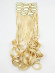 Länge Weißgold 60cm Hochtemperatur Perücke Haarverlängerung synthetisches Haar