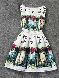 Girl's White Dress,Print Polyester Summer