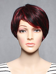 Capless Curta sintético cor fuxia retas mulheres sintéticas perucas
