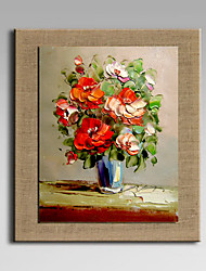 Oil Painting Modern Abstract Flower Set of 1 Hand Painted Natural linen with Stretched Frame