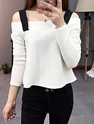 Women's Casual/Daily Sexy / Street chic Summer Blouse,Patchwork Strap Long Sleeve White / Black Polyester Thin