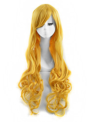 Capless Long Curly Yellow Color Cosplay Synthetic Wig
