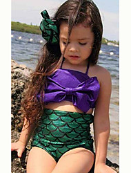 Girl's  Summer The Little Mermaid Bowknot   Strapless  Swimwear