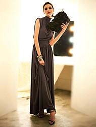 JoanneKitten Women's Solid Gray Dress , Vintage / Party / Work / Maxi / Plus Sizes Turtleneck Sleeveless