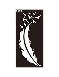 1pc Airbrush Feather Bird Tattoo Henna Stencil Temporary Sexy Women Body Leg Hand Art Tattoo Sticker S202