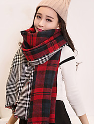 Autumn And Winter Thick Double-sided Burr Houndstooth Plaid Shawl Scarf