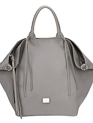 DAVIDJONES/Women Nylon Shopper Shoulder Bag / Tote / Cross Body Bag-Gray / Black