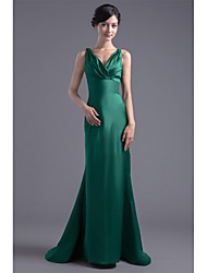 Formal Evening Dress - Elegant Trumpet / Mermaid V-neck Sweep / Brush Train Satin with Pleats