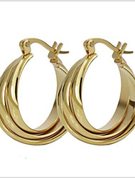 women Titanium Steel gold Hoop Earrings