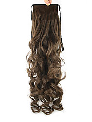 longueur brun foncé perruque queue de cheval 55cm haute température pearvolume synthétique couleur de fil 8