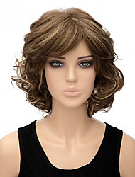Woman's Light Brown Color Curly Short Synthetic Wigs