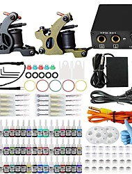 Professional Complete 2 Gun Tattoo Machine Kit 54PCS Ink Power Supply Needle Grips Tips