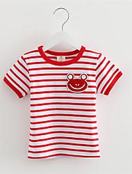Cute Frog Printed and Striped T-Shirt Children Kids T-Shirts Cotton Tops Baby Boy T-shirt