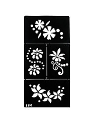 1pc Henna Airbrush Stencil Tattoo Flower Pattern Temporary Black Fake Tattoo Body Art Sticker S253