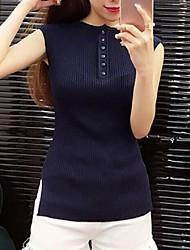 Women's Solid Blue / White / Green Vest,Street chic Sleeveless