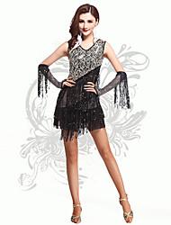 Robes(Noire,Elasthanne,Danse latine)Danse latine- pourFemme Paillettes / Frange (s) Spectacle Danse latine Taille haute