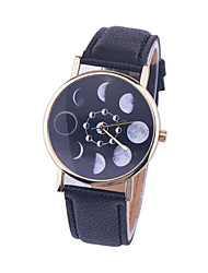 Women/Men's Leather Band Analog Star Moon Case  Wrist Watch Jewelry