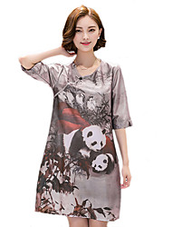 2016 New Women's Fashion Loose Chinese Ink Painting Style Retro Print Dress