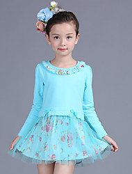 Girl's Patchwork Dress,Cotton / Polyester Winter / Fall Blue / Yellow