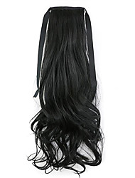 Black Length 50CM Factory Direct Sale Bind Type Curl Horsetail Hair Ponytail(Color 1BJ)