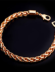 U7® Twisted Rope Link Bracelet 18K Real Gold Plated Chain Bracelet for Men Fashion Jewelry Christmas Gifts