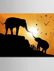 Rechteckig Modern/Zeitgenössisch Wanduhr,Tiere Leinwand35 x 50cm(14inchx20inch)x1pcs/ 40 x 60cm(16inchx24inch)x1pcs/ 50 x