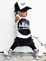 Boy's  Cotton Summer Fashion Cartoon Pattern Tee Hallen Trousers Two-Piece Set