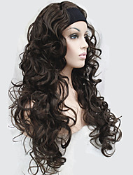 Half wig 3/4 wigs With Headband Long Curly Black Synthetic Hair Wig