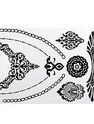 -Tattoo AufkleberAirbrush-Tattoo Schablonen- fürDamen / Erwachsener-Schwarz-Papier-1Stück -21*17*0.3