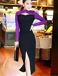 Mulheres Vestido Bandagem Simples Patchwork Médio Colarinho Chinês Algodão / Poliéster
