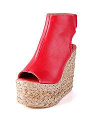 Damen-Sandalen-Lässig-Mikrofaser-Keilabsatz-Club-Schuhe-