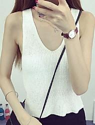 Women's Solid Red / White / Black Vest,Street chic Sleeveless