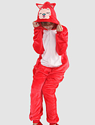 Kigurumi Pijamas Raposa Malha Collant/Pijama Macacão Festival/Celebração Pijamas Animal Vermelho Miscelânea Flanela Kigurumi Para Unisexo