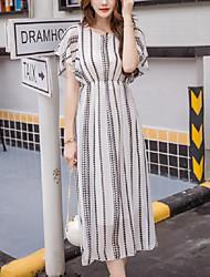 Women's Beach Boho / Street chic Chiffon Dress,Striped Round Neck Midi Short Sleeve White / Black Polyester Summer