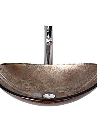 The Boat Shaped Contemporary Bathroom Tempered Glass Sink Set